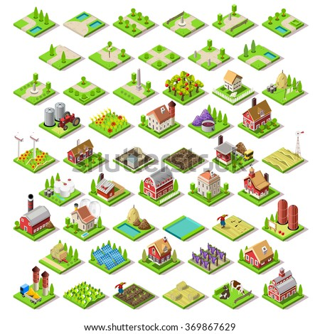 Flat 3d Isometric Farm Buildings City Map Icons Game Tiles Elements Set. NEW bright palette Rural Barn Buildings Isolated on White Vector Collection. 3D World JPG JPEG Image Drawing Object EPS 10 AI - stock vector