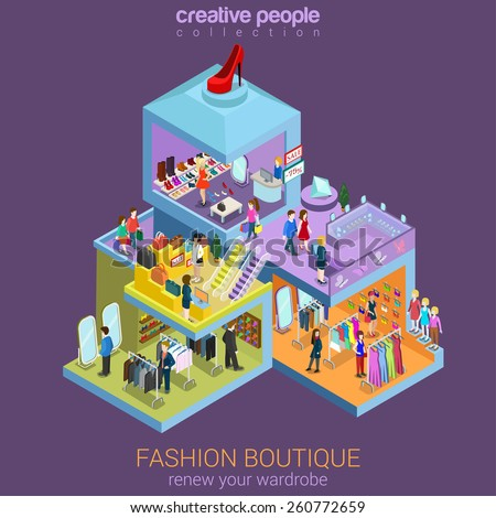 Flat 3d isometric fashion boutique shopping mall sale concept vector. Clothes, clothing bags jewelry shoes mannequin indoor interior floors walking shoppers. Multi-use retail store business concept. - stock vector