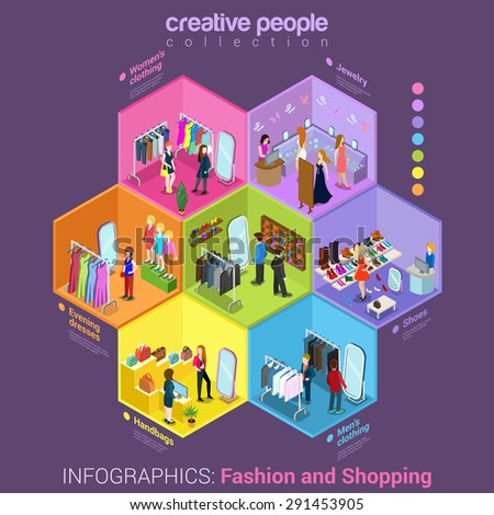 Flat 3d isometric fashion shopping mall cell abstract interior room customers clients buyers workers staff concept vector infographics. Creative business people in cells collection. - stock vector