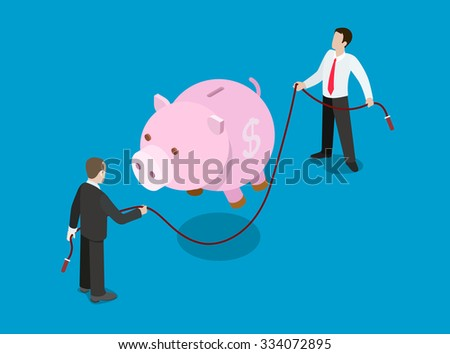 Flat 3d isometric financial credit loan investment solution concept web infographics vector illustration. Piggy bank jump skipping rope holding businessmen. Creative people collection. - stock vector