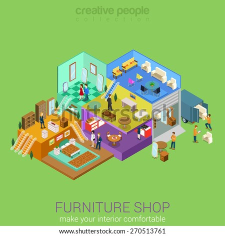 Flat 3d isometric furniture shop interior mall business concept vector. Bedroom living dining room table sofa stool chair mirror carpet cupboard locker indoor interior floors with walking shoppers. - stock vector