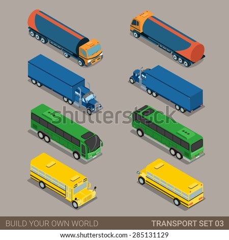 Flat 3d isometric high quality city long vehicle transport icon set. Tank oil cistern truck intercity tourist school bus. Build your own world web infographic collection. - stock vector