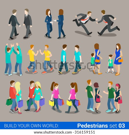 Flat 3d isometric high quality city pedestrians icon set. Business people, casual, teens, couples, Carrying Shopping bags. Build your own world web infographics collection. - stock vector