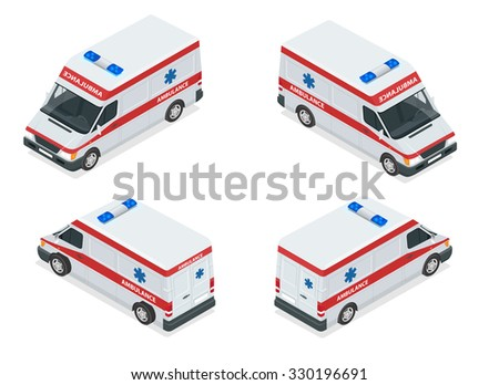 Flat 3d isometric high quality city service transport icon set. Build your own world web infographic collection. Set of the isometric ambulance car with front and rear views. - stock vector