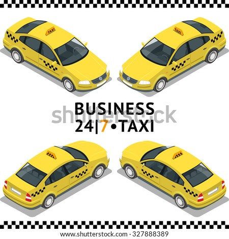 Flat 3d isometric high quality city service transport icon set. Car taxi. Build your own world web infographic collection. Set of the isometric taxi cab with front and rear views - stock vector