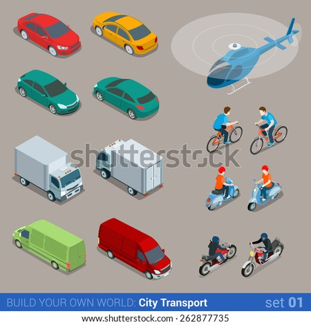 Flat 3d isometric high quality city transport icon set. Car van bus helicopter bicycle scooter motorbike and riders. Build your own world web infographic collection. - stock vector