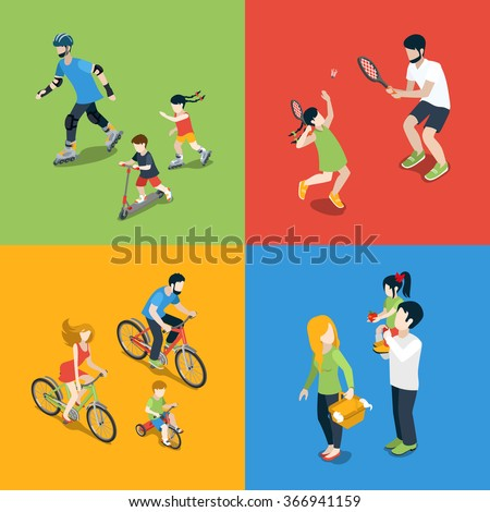 Flat 3d isometric high quality family outdoor sports play parenting time icon set. Mom daughter son dad skating tennis cycling picnic. Build your own world web infographic collection. - stock vector