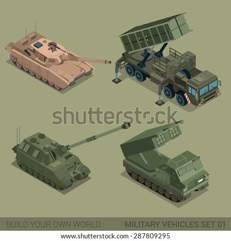 Flat 3d isometric high quality military vehicles machinery transport icon set. Tank self propelled artillery multiple rocket launch system MRLS tracked caterpillar. Build your own world web collection - stock vector
