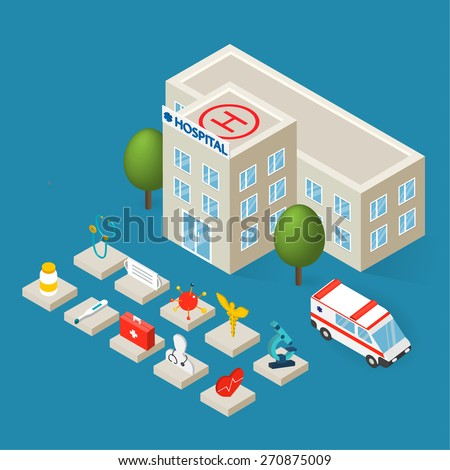 Flat 3d isometric hospital building, emergency ambulance car and isometric medical icons set isolated, vector illustration - stock vector