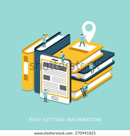 flat 3d isometric infographic for easy getting information concept with books and tablet piled up together  - stock vector