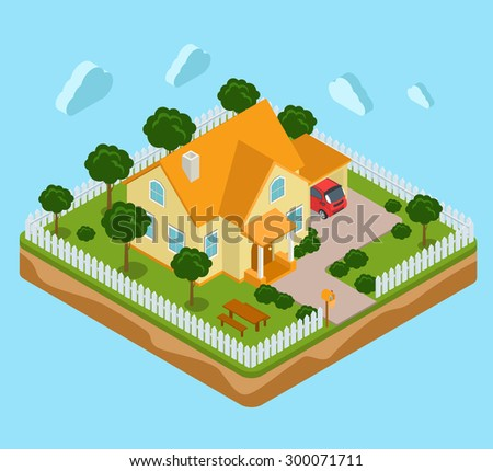 Flat 3d isometric land island infographics icon house realty real estate concept. Web isometry infographic collection. - stock vector