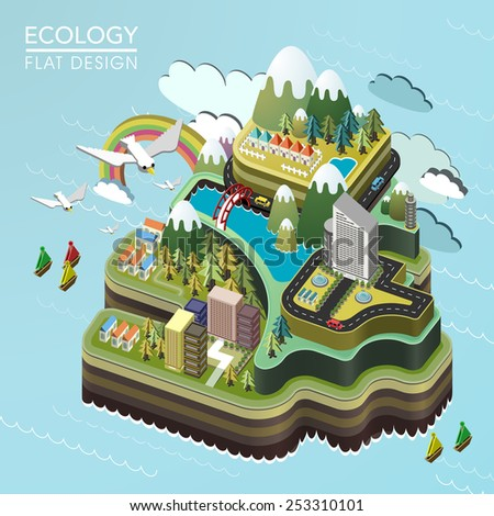 flat 3d isometric lovely island landscape illustration - stock vector