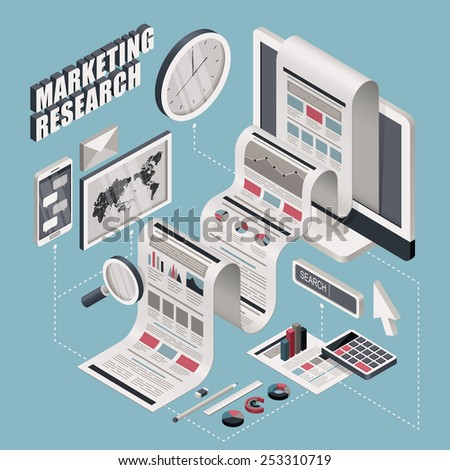 flat 3d isometric marketing research illustration over blue background - stock vector