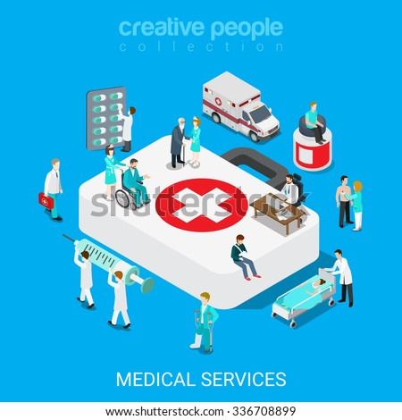Flat 3d isometric medical services doctor nurse first aid concept web infographics vector illustration. Big case micro hospital staff pill syringe evacuation ambulance icon. Creative people collection - stock vector