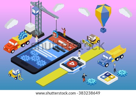 Flat 3d isometric mobile and smart watch design web concept vector. Crane people creating interface on phone tablet - stock vector