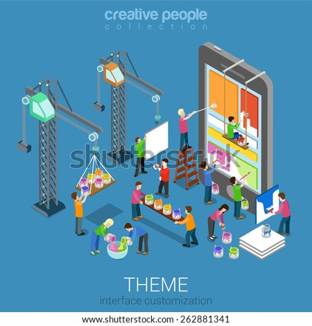 Flat 3d isometric mobile theme user interface customization web infographic concept vector. Crane people painting changing interface on phone tablet. Usability, mockup, wireframe, UI/UX concept. - stock vector