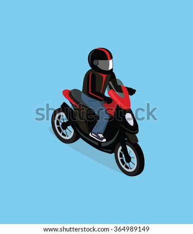 Flat 3d isometric motorcyclist on motorcycle. Motorbiker with motorcycle. Isometric motorcycle. Motorcycle isometric motor bike. Detailed illustration of isometric scooter. Isometric biker top view - stock vector