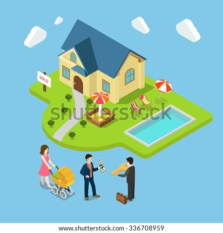 Flat 3d isometric new family house sold real estate business concept web infographics vector illustration. Agent gives key man money mother pram home playground pool. Creative people collection. - stock vector