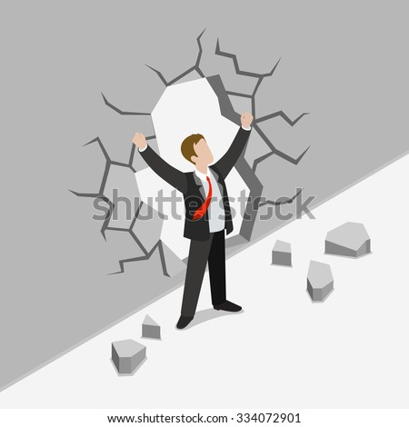 Flat 3d isometric obstacle overcome business concept web infographics vector illustration. Businessman crack concrete wall rising hands winner. Creative people collection. - stock vector