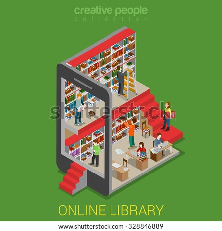 Flat 3d isometric online library web infographics concept. Micro people walking in lib inside tablet smartphone e-book reading book shelf stand. Creative people collection. - stock vector