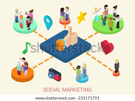 Flat 3d isometric online social media digital marketing people connections web infographic concept vector. People on platforms connected love, friendship, interests, business, reminiscence, memories. - stock vector