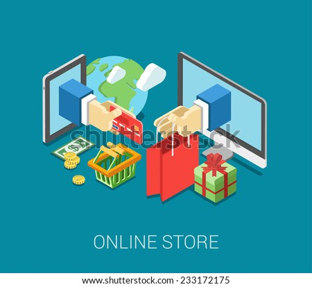 Flat 3d isometric online store e-commerce web infographic concept vector. Internet sale shopping cart, payment, checkout, gift box. Hand hold credit card stick from tablet, paper bag from computer. - stock vector