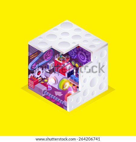 Flat 3d isometric section view engineering factory concept vector in the box, Vector industrial illustration background of the factory for processing, illustrator Vector - stock vector