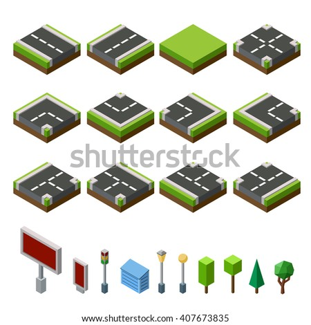 Flat 3d isometric street game tiles icons infographic concept set. City map elements and trees - stock vector