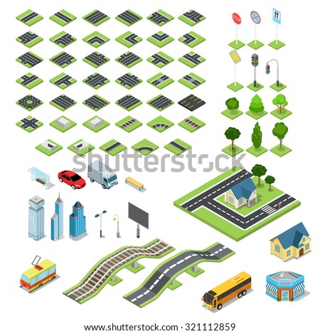 Flat 3d isometric street road sign building blocks infographic concept set. Crossroad railway fountain traffic light lantern skyscraper tram bus shop. Build your own infographics world collection. - stock vector