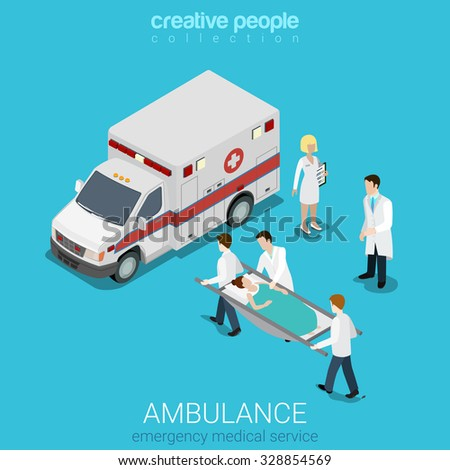 Flat 3d isometric style ambulance emergency medical evacuation accident concept web infographics vector illustration. Orderlies carry patient stretcher. Creative people website conceptual collection. - stock vector