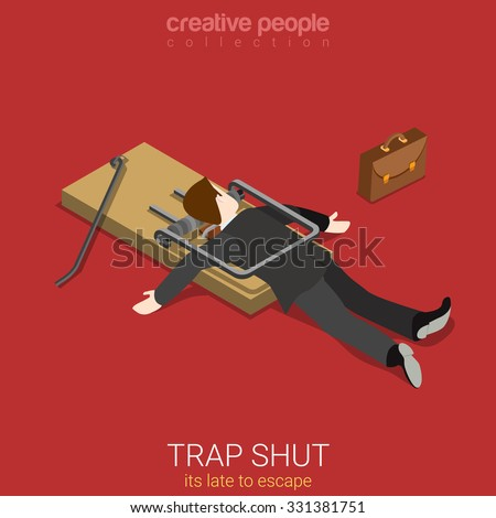 Flat 3d isometric style business lifestyle fall into trap concept web infographics vector illustration. Isometric businessman shut in trap lake to escape. Creative people collection. - stock vector
