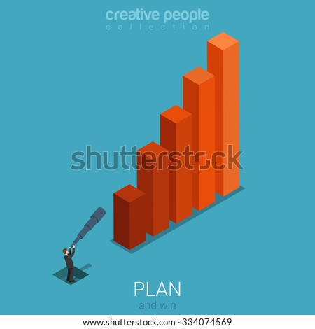 Flat 3d isometric style business plan forecast stats concept web infographics vector illustration. Bar graphic and micro businessman with spyglass looking into future. Creative people collection. - stock vector