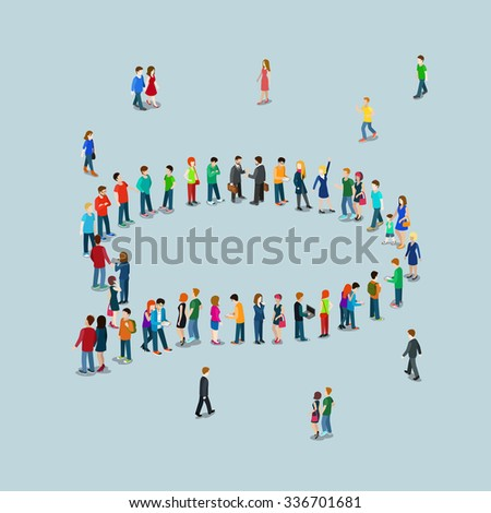 Flat 3d isometric style chat messaging web infographics vector illustration crowded square. Crowd group forming chatting cloud callout sign shape internet access point. Creative people collection. - stock vector