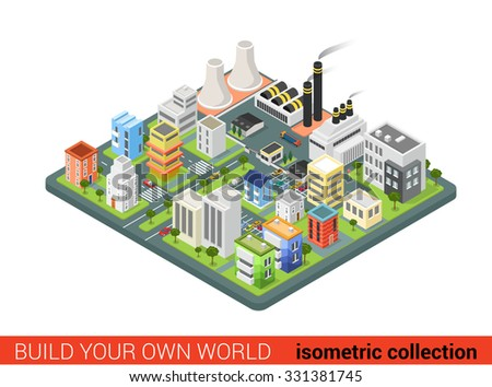 Flat 3d isometric style city power energy industrial labor sleeping dormitory district concept web infographics vector illustration. Creative architecture collection.