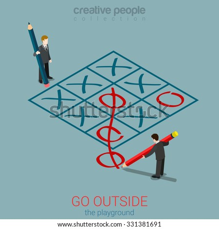 Flat 3d isometric style go outside playground plan rules concept web infographics vector illustration. Micro businessmen playing tic-tac-toe zero out of field. Creative people collection. - stock vector