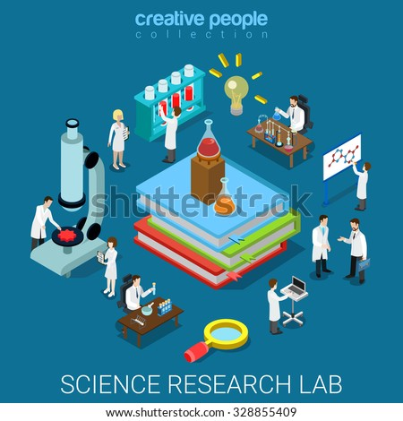 Flat 3d isometric style science chemical pharmaceutical research lab concept web infographics vector illustration. Big books flask tube and scientists. Creative people website conceptual collection. - stock vector