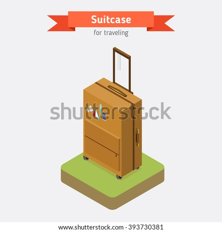 Flat 3d isometric style suitcase. Vacation travel design.