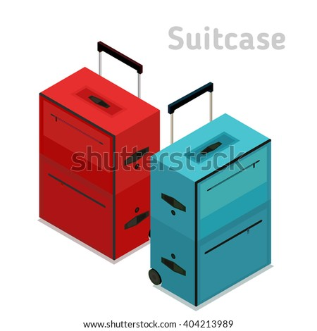 Flat 3d isometric style suitcase. Vacation travel design.  - stock vector