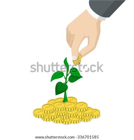 Flat 3d isometric style time invest grow business start up concept web infographics vector illustration. Big hand throw coin into heap growing sprout. Creative people website conceptual collection. - stock vector