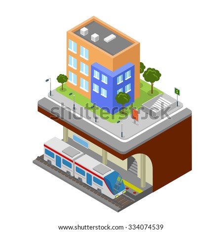 Flat 3d isometric subway underground railway station concept web infographics vector illustration. Creative city block collection.