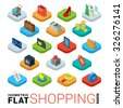Flat 3d isometric trendy style online store shopping web mobile app infographics icon set. Cart bag credit card tablet wallet label sale search money gift box coin safe. Website application collection - stock vector