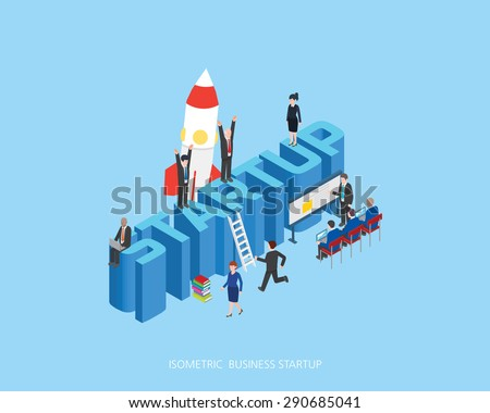 Flat 3d isometric vector illustration stark up concept design, Abstract urban modern style, high quality business series.  - stock vector