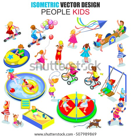 Flat 3d isometric young joyful kids people vector illustration. Children playing in entertainment area. Cartoon character. Creative people collection.