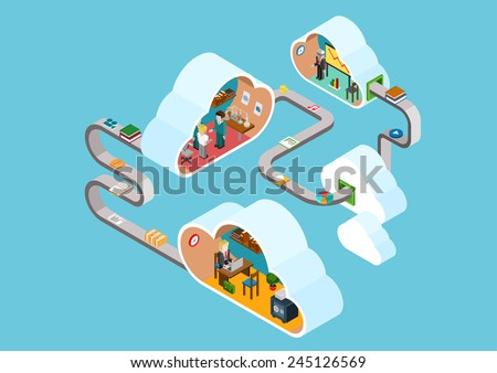 Flat 3d web isometric cloud office rooms collaboration interior infographic concept vector. Clouds connected documents, objects. Staff workplace, laboratory, meeting room. Creative people collection. - stock vector
