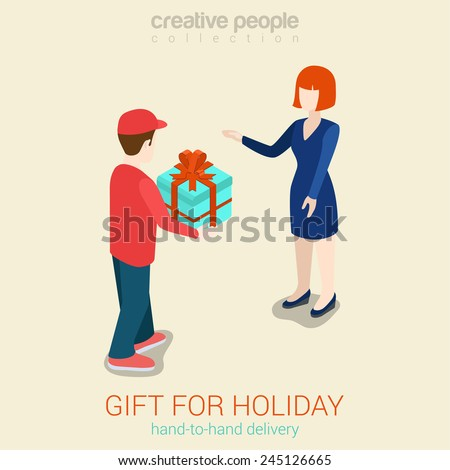 Flat 3d web isometric courier gift delivery infographic concept vector. Man giving present box to woman. Creative people collection. - stock vector
