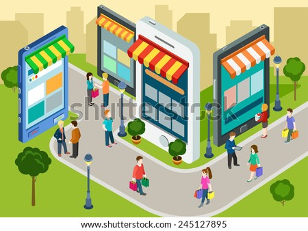 Flat 3d web isometric e-commerce, electronic business, online mobile shopping, sales, black friday infographic concept vector. People walk on the street between stores boutiques like phones tablets. - stock vector