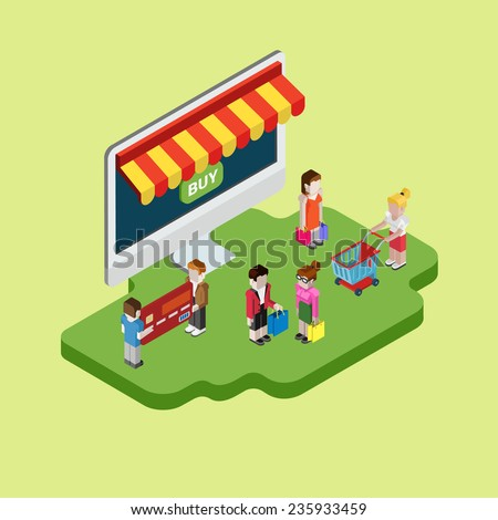 Flat 3d web isometric e-commerce, electronic business, online shopping, purchase, payment process, sales, black friday, cyber monday infographic concept vector. Computer store and shopper customers. - stock vector