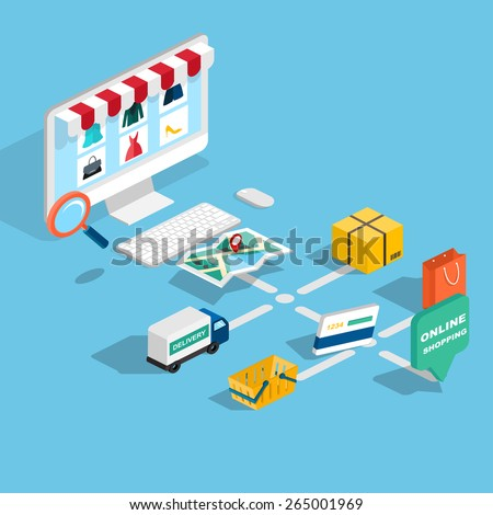 Flat 3d web isometric e-commerce, electronic business, payment, delivery, shipping process, sales, black friday infographic concept vector. tablet buy button. - stock vector