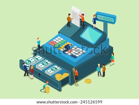 Flat 3d web isometric little people on big oversize cash register machine infographic concept vector. Fabulous mini human characters finance retail sale monetary concept. Creative people collection. - stock vector