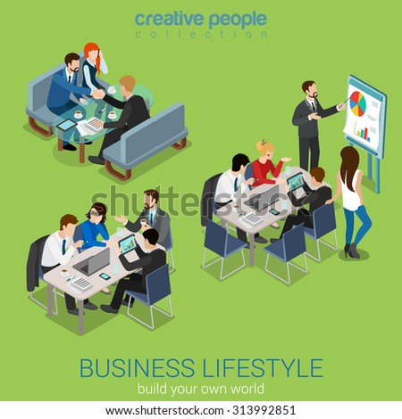 Flat 3d web isometric office meeting room report business collaboration teamwork brainstorming negotiation infographic concept interior vector set. Businessmen around table. Creative people collection - stock vector
